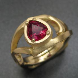 custom designed ring with ruby