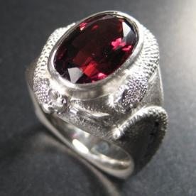 silver and garnet ring symbolizing schizophrenia